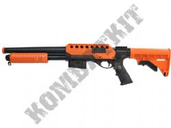 M47D1 Tactical Airsoft BB Shotgun Black and Orange